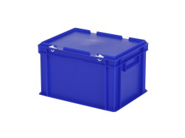 Stacking bin with lid - 400 x 300 x H 250 mm - blue