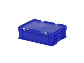 Stacking bin with lid - 400 x 300 x H 133 mm - blue