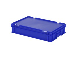 Stacking bin with lid - 600 x 400 x H 135 mm - blue