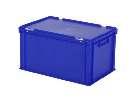 Stacking bin with lid - 600 x 400 x H 335 mm - blue