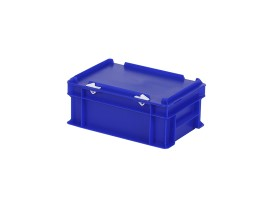 Stacking bin with lid - 300 x 200 x H 133 mm - blue