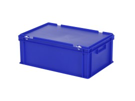 Stacking bin with lid - 600 x 400 x H 235 mm - blue