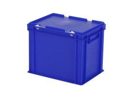 Stacking bin with lid - 400 x 300 x H 335 mm - blue