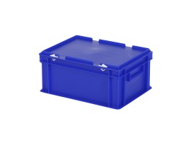 Stacking bin with lid - 400 x 300 x H 190 mm - blue