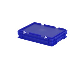 Stacking bin with lid - 400 x 300 x H 90 mm - blue