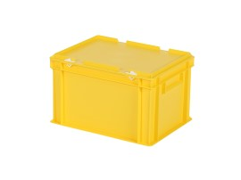Stacking bin with lid - 400 x 300 x H 250 mm - yellow