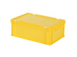 Stacking bin with lid - 600 x 400 x H 235 mm - yellow