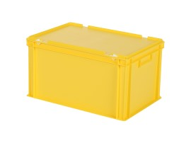 Stacking bin with lid - 600 x 400 x H 335 mm - yellow
