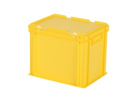Stacking bin with lid - 400 x 300 x H 335 mm - yellow