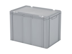 Stacking bin with lid - 600 x 400 x H 439 mm - grey