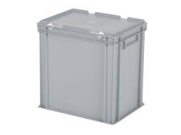 Stacking bin with lid - 400 x 300 x H 415 mm - grey