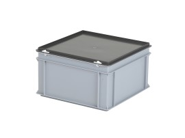 Stacking bin with lid - 400 x 400 x H 235 mm - grey (reinforced base)