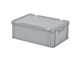 Stacking bin with lid - 600 x 400 x H 235 mm - grey