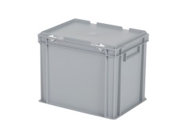 Stacking bin with lid - 400 x 300 x H 335 mm - grey