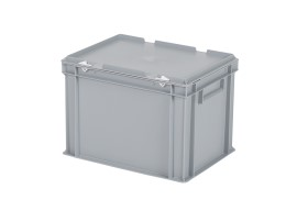 Stacking bin with lid - 400 x 300 x H 295 mm - grey