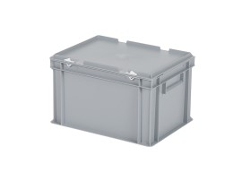 Stacking bin with lid - 400 x 300 x H 250 mm - grey