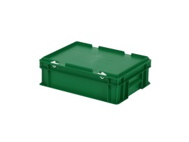 Stacking bin with lid - 400 x 300 x H 133 mm - green