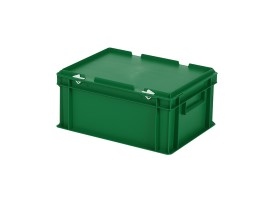 Stacking bin with lid - 400 x 300 x H 190 mm - green