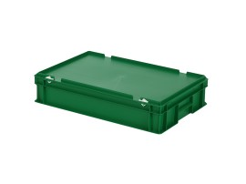 Stacking bin with lid - 600 x 400 x H 135 mm - green