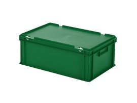 Stacking bin with lid - 600 x 400 x H 235 mm - green