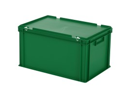 Stacking bin with lid - 600 x 400 x H 335 mm - green