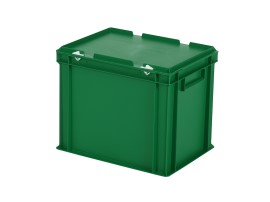 Stacking bin with lid - 400 x 300 x H 335 mm - green