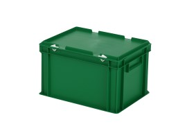 Stacking bin with lid - 400 x 300 x H 250 mm - green