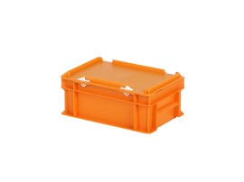 Stacking bin with lid - 300 x 200 x H 133 mm - orange