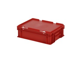 Stacking bin with lid - 400 x 300 x H 133 mm - red