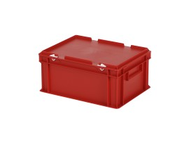 Stacking bin with lid - 400 x 300 x H 190 mm - red