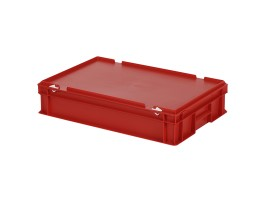 Stacking bin with lid - 600 x 400 x H 135 mm - red