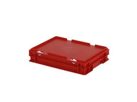 Stacking bin with lid - 400 x 300 x H 90 mm - red