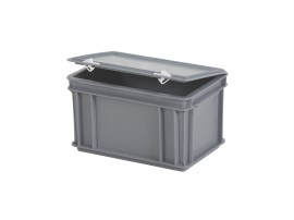 Stacking bin with lid - 300 x 200 x H 185 mm - grey