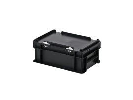Stacking bin with lid - 300 x 200 x H 133 mm - black
