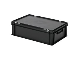Stacking bin with lid - 600 x 400 x H 185 mm - black