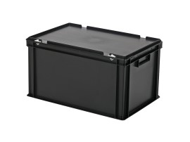 Stacking bin with lid - 600 x 400 x H 335 mm - black