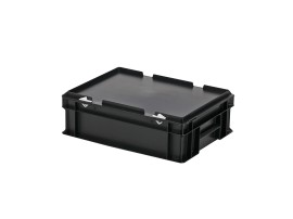 Stacking bin with lid - 400 x 300 x H 133 mm - black