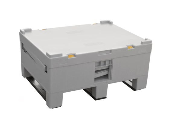 Pallet box - MAGNUM COMBO BOX - 810 x 610 mm - foldable - 250 liter - 3 runners - 4430.020 - folded