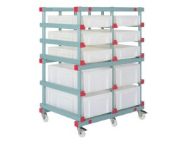 Double plastic bin trolley - 2 x 5 spaces (Euronorm)