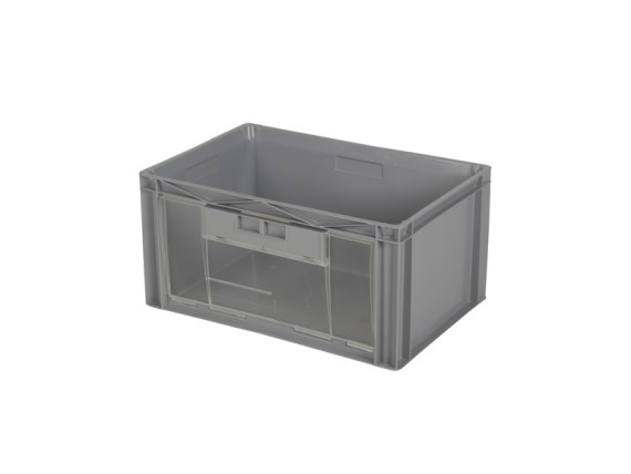 Euronorm plastic storage bin with flap - 600 x 400 x H 300 mm 2366.857.502