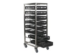 Stainless steel transporttrolley for racks