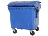 Four-wheeled 1100 litre waste container - convex lid - blue