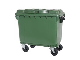 Four-wheeled 660 litre waste container - green