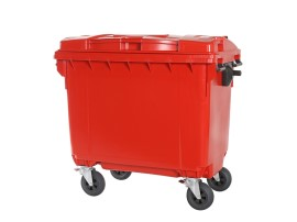 Four-wheeled 660 litre waste container - red