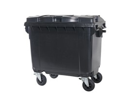 Four-wheeled 660 litre waste container - grey