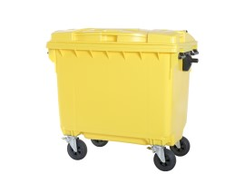 Four-wheeled 660 litre waste container - yellow