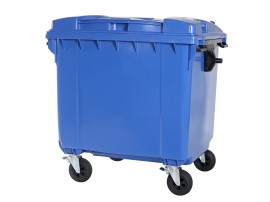 Four-wheeled 1100 litre waste container - flat lid - blue