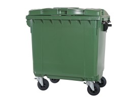 Four-wheeled 770 litre waste container - green