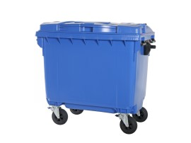 Four-wheeled 660 litre waste container - blue