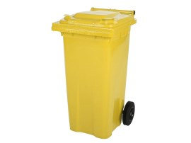 Two-wheeled 120 litre waste container - yellow